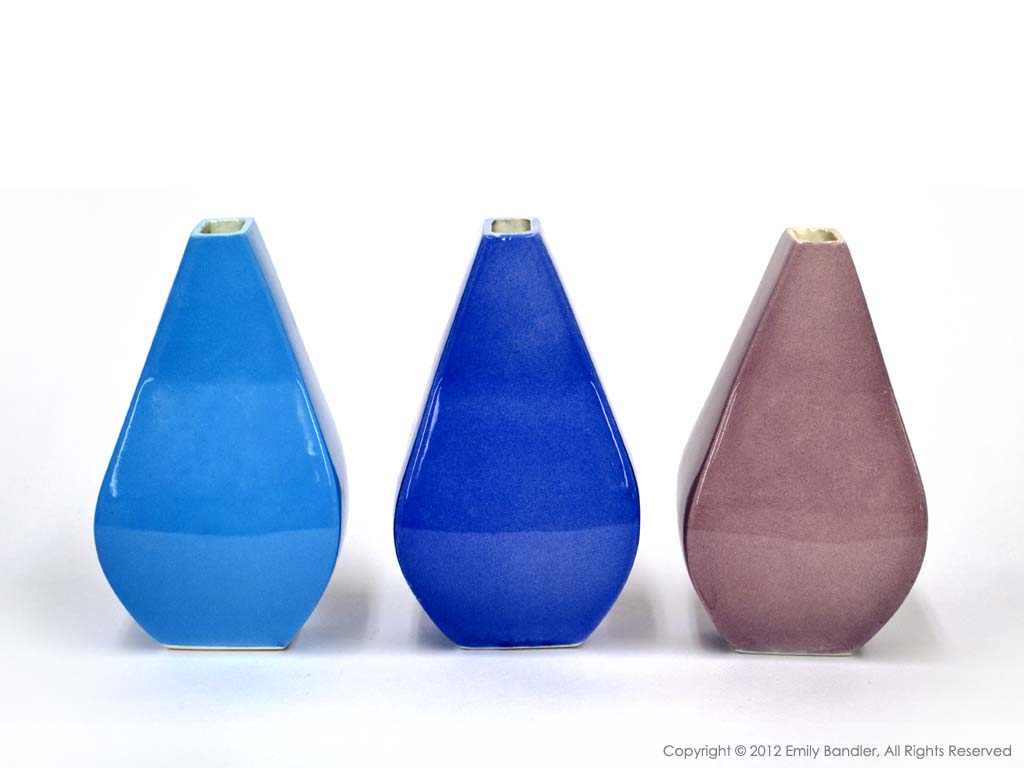 Cyan, Blue, and Violet Vases