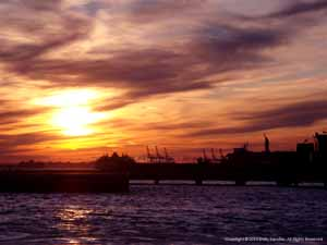 """Sunset on the Hudson""